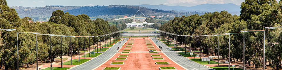 View of Parliament House from Anzac Parade.