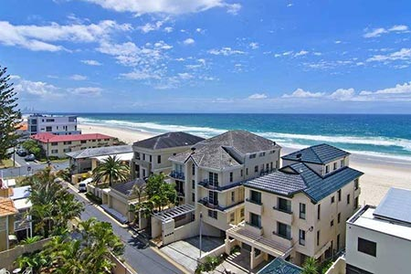 Tourist resorts looking out into a Gold Coast beach.