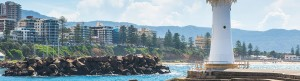 Wollongong City viewed from behind lighthouse.