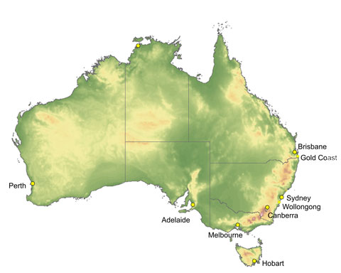 Map locations of Australia's top university cities.