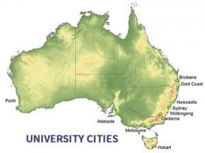 Australian university cities.