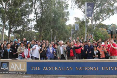 Students outside the front of the Australian National University.