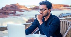 International student studying online