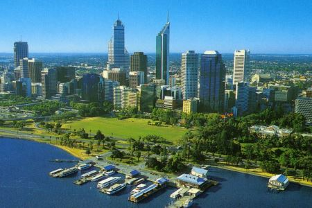 Perth City harbor, Western Australia.